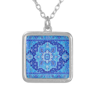 PERSIAN RUG - Blue Silver Plated Necklace