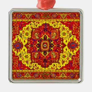 PERSIAN RUG - Red & Yellow Silver-Colored Square Decoration
