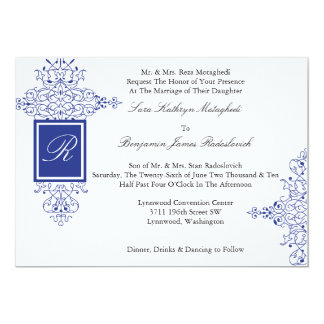 Persian Scroll Formal Monogram Invitation