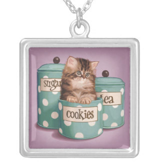 Persian Tabby Kitten in Cookie Jar Silver Plated Necklace