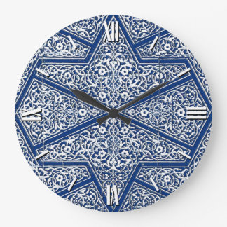 Persian tile pattern - cobalt blue and white wall clock