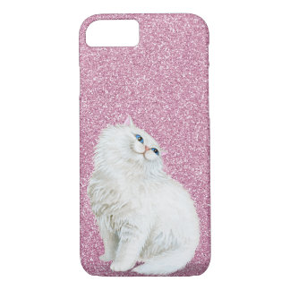 Persian white cat on pink glitter iPhone 8/7 case
