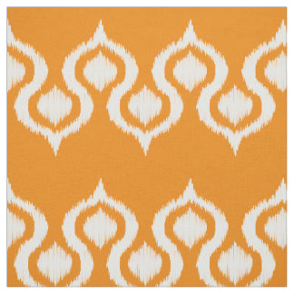 Persimmon Ikat Tribal Pattern Fabric