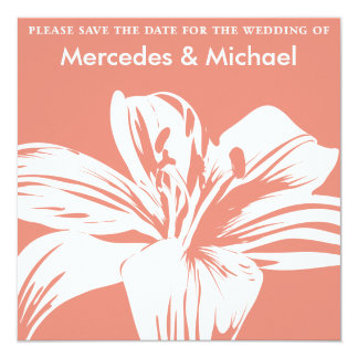 Persimmon Lily Bloom Save the Date Invitation