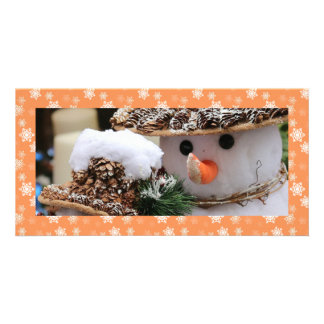 Persimmon Orange and White Snow Flurries Custom Photo Card