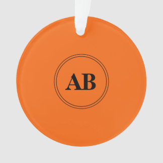 Persimmon orange solid color with monogram ornament