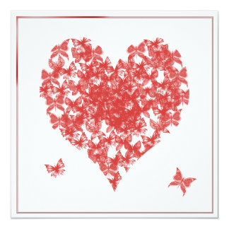 "Persimmon Rose Butterfly Heart Wedding Invitation 5.25"" Square Invitation Card"