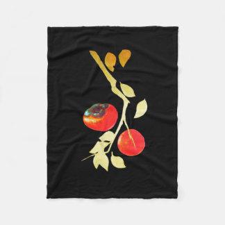Persimmon with gold branch fleece blanket