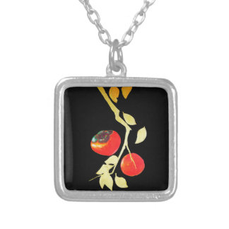 Persimmon with Gold Branch Silver Plated Necklace