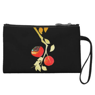 Persimmon with gold branch wristlet purses