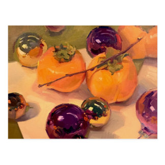 """Persimmons and Purple Ornaments"" Art Postcard"