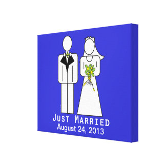 Persoanlized Just Married Stretched Canvas Prints