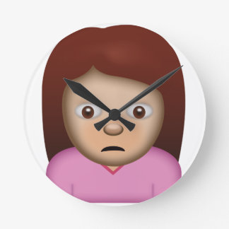 Person Frowning Emoji Round Clock