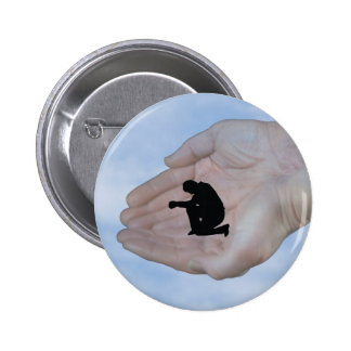 Person in Prayer in God s Hands Button