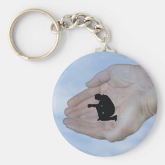 Person in Prayer in God s Hands Keychains