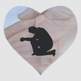 Person in Prayer, in God's Hands Heart Sticker