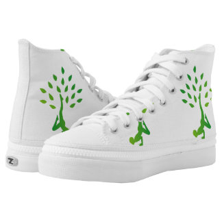 Person in yoga pose forming a healthy tree printed shoes