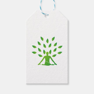 Person meditating under a tree gift tags