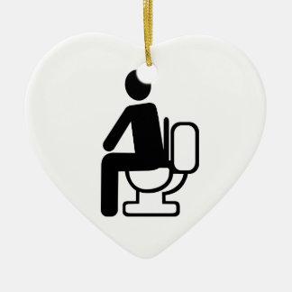 Person toilet ceramic ornament