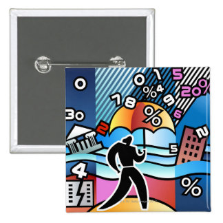 Person walking with numbers falling on umbrella 15 cm square badge