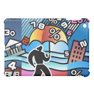 Person walking with numbers falling on umbrella iPad mini case