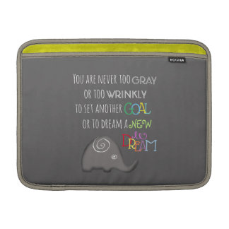 PersonaIized Inspirational Elephant Never Too Old Sleeve For MacBook Air