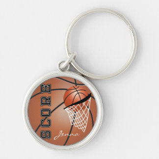 Personailize Basketball Silver-Colored Round Key Ring