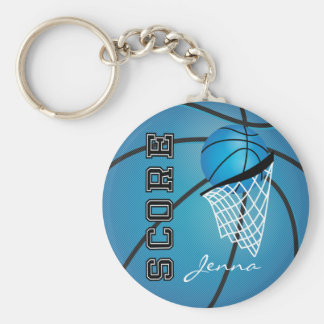Personailize Blue Basketball Basic Round Button Key Ring