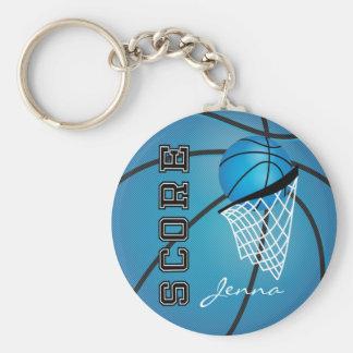 Personailize Blue Basketball Key Ring