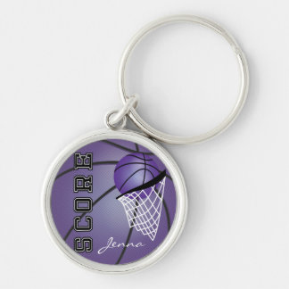 Personailize Purple Basketball Silver-Colored Round Key Ring