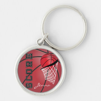 Personailize Red Basketball Silver-Colored Round Key Ring