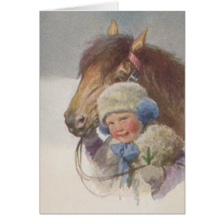 Personal Antique Winter Pony Art Note Card Cards