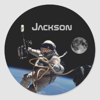 Personal Astronaut Space Walk Classic Round Sticker