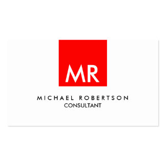 Personal Attractive Monogram Red Black White Pack Of Standard Business Cards
