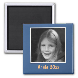 Personal Blue Greeting Custom Photo and Text Square Magnet
