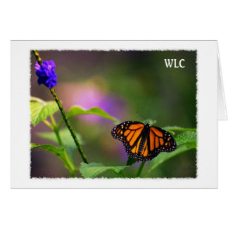 Personal Card, Monarch Butterfly in flowers photo Card