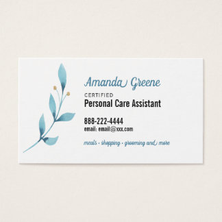 Personal Care Assistant caregiver Business Card
