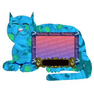 personal cat pic frame blue standing photo sculpture