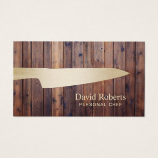 Personal Chef Catering Gold Knife Rustic Wood Business Card