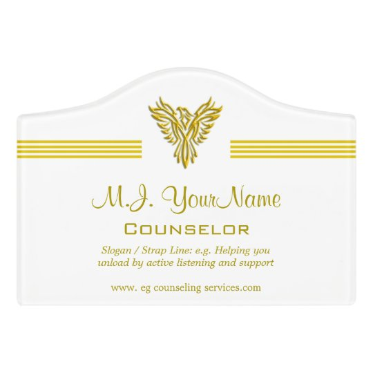 Personal Counsellor luxury gold stripes and Door Sign