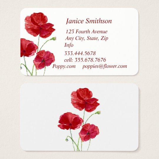 Personal Custom Red Poppy Flower   Business Card