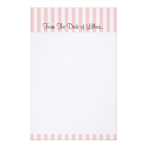 Personal, customizable pink and white stripe stationery paper