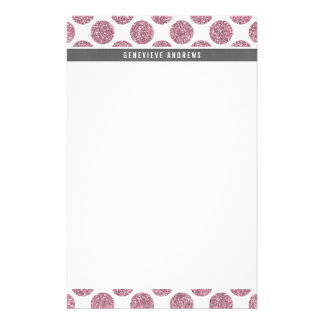 PERSONAL cute large polka dot glitter baby pink Stationery