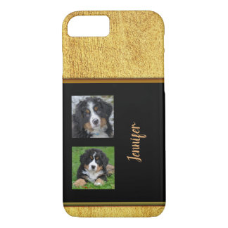 Personal elegant glitter gold black photo collage iPhone 8/7 case