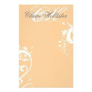 Personal Girly Floral Swirls Monogram Stationery