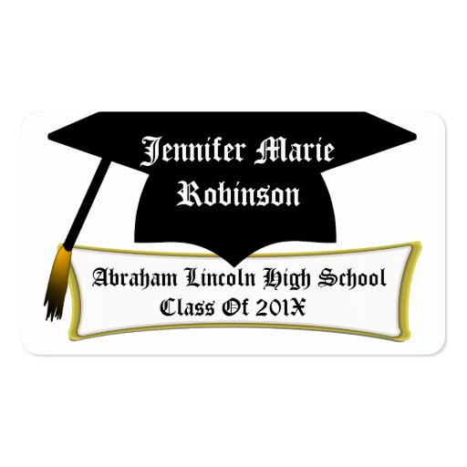 Personal Graduation Card, Add Name, School & Year Business Card Templates