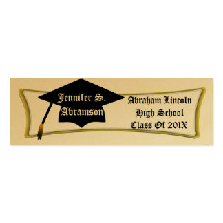 Personal Graduation Card, Add Name, School & Year Pack Of Skinny Business Cards