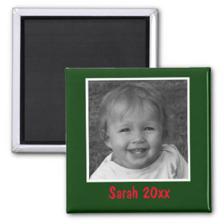 Personal Green Greeting Custom Photo and Text Magnet