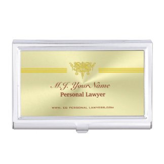 Personal Lawyer and golden justice logo Business Card Holder