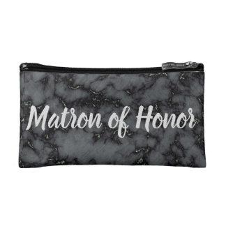 Personal Matron of Honor Black Marble Print Makeup Bag